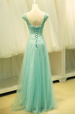 Sexy Lace Appliques Sleeveless Prom Dress UK Floor Length Tulle Evening Gowns_3
