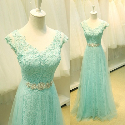 Sexy Lace Appliques Sleeveless Prom Dress UK Floor Length Tulle Evening Gowns_2