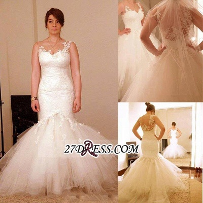 Tulle Sexy Mermaid Appliques Elegant Sheer Wedding Dress_2