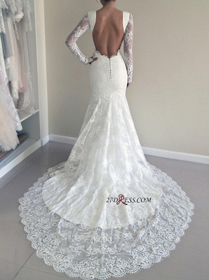Backless Long-Sleeve Sexy Mermaid Gorgeous Sweep-Train Lace Wedding Dresses UK_2