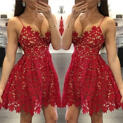 Elegant Red Lace Homecoming Dress UK Short Spaghetti Strap Party Gowns_3