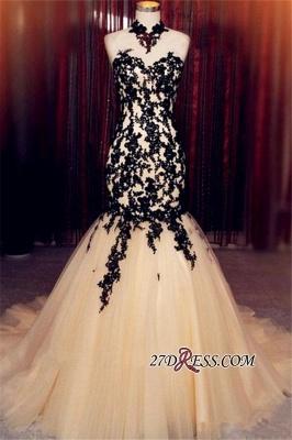 Champagne Sleeveless Mermaid Black High-Neck Lace Tulle Evening Dress UK BA8175_1