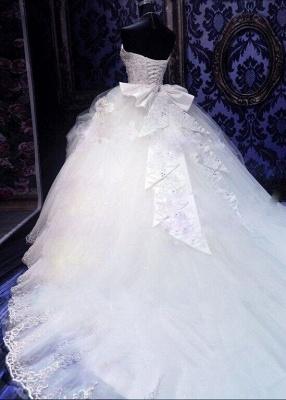 Gorgeous Ball Gown Beadss Wedding Dress Court Train Bowknot_3