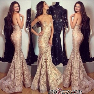 Mermaid Champagne Sweetheart-Neck Elegant Lace Evening Gowns_1