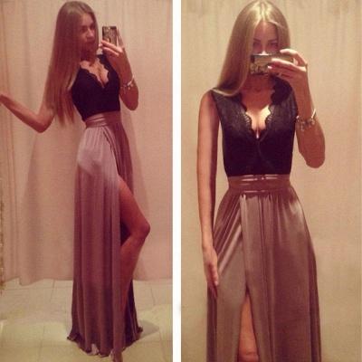 Sexy V-neck Lace A-line Prom Dress UK Front Split Sleeveless_3