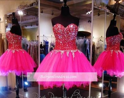 Tulle Mini A-Line Sweethehart Gorgeous Beadings Homecoming Dress UKes UK_2