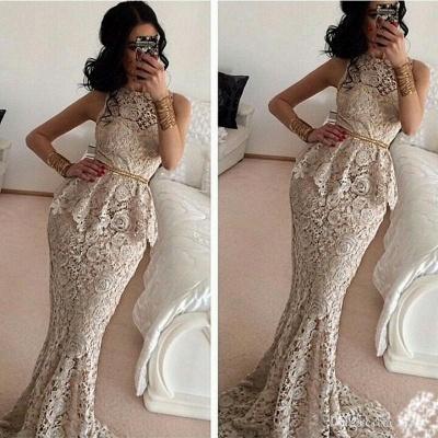 Luxury Full Lace Sleeveless Mermaid Evening Dress UKes UK Sweep Train Prom Gowns_1