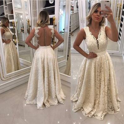 Luxury Sleeveless Lace Evening Dress UK Long With Pearls_3