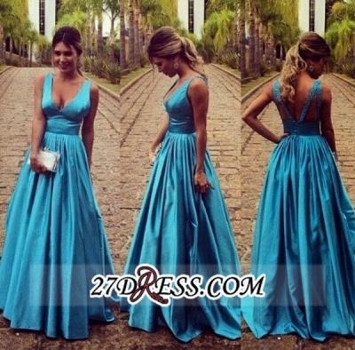 Modest Straps Zipper Long Sleeveless A-line Prom Dress UK_1