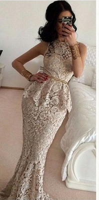 Luxury Full Lace Sleeveless Mermaid Evening Dress UKes UK Sweep Train Prom Gowns_2