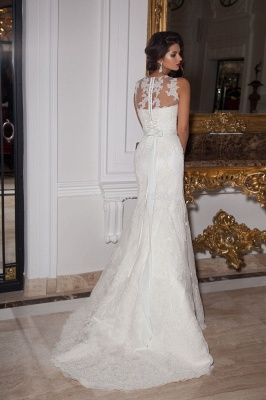 Illusion Sleeveless Sexy Mermaid Wedding Dress With Lace Appliques_2