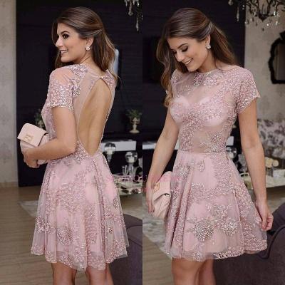 Short lace prom Dress UK, homecoming Dress UK_1