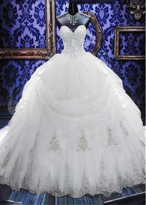 Gorgeous Ball Gown Beadss Wedding Dress Court Train Bowknot_1