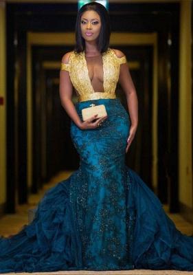 Modern Gold Lace Mermaid Beads Prom Dress UK | Long Prom Dress UK BK0 BA8385_1