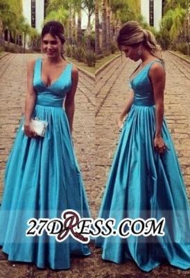 Modest Straps Zipper Long Sleeveless A-line Prom Dress UK_2