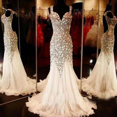 Gorgeous V-neck Tulle Evening Dress UK Beadings Crystals Sweep Train BA9453_2
