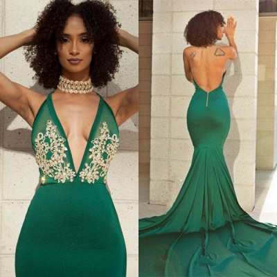 Sexy Green V-Neck Evening Dress UK | Backless Mermaid Prom Dress UK With Lace_5