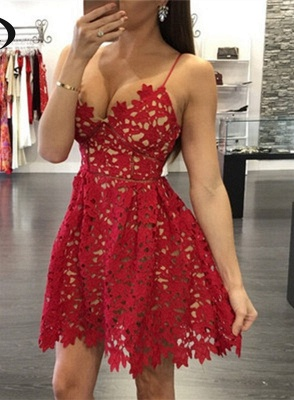Elegant Red Lace Homecoming Dress UK Short Spaghetti Strap Party Gowns_1