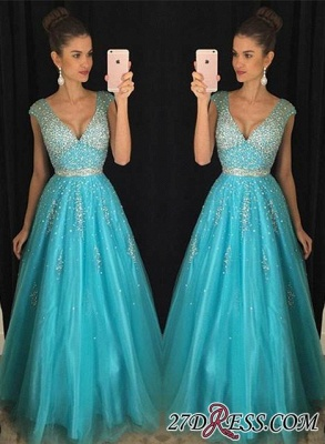 Tulle Crystal V-Neck Blue A-Line Luxury Prom Dress UK_2