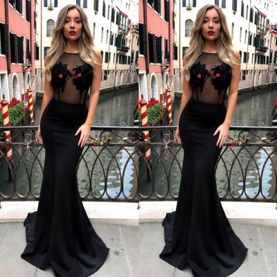 Elegant Black Sleeveless Lace Appliques Evening Gown   Long Prom Dress UK_3