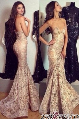 Mermaid Champagne Sweetheart-Neck Elegant Lace Evening Gowns_2