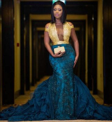 Modern Gold Lace Mermaid Beads Prom Dress UK | Long Prom Dress UK BK0 BA8385_3