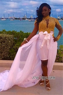 Gold Long-Sleeves High-Neck Detachable-Skirt Gorgeous Lace Evening Dress UKes UK BK0_2