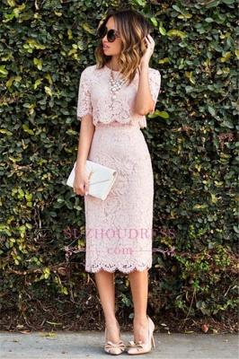 Cute Two-Piece Short-Sleeve Fashion Pink Lace Short Homecoming Dress UKes UK BA6003_1