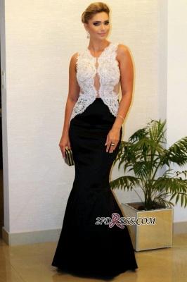 Sleeveless White-Lace Luxury Black Mermaid Evening Dress UK_2