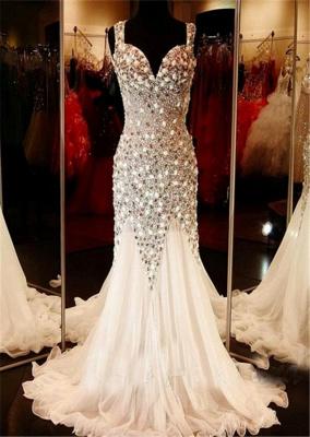 Gorgeous V-neck Tulle Evening Dress UK Beadings Crystals Sweep Train BA9453_1