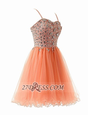 Gorgeous Sweetheart Sleeveless Short Homecoming Dress UK Spaghetti Strap Beadings Crystals Tulle Cocktail Gown_2
