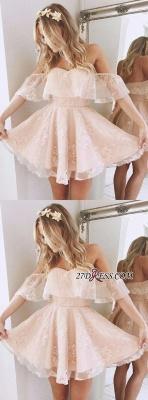 Party Elegant Off-Shoulder Short Lace Peach Cocktail Dress UKes UK BA6346_2
