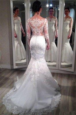 Elegant Lace Appliques Wedding Dress Sexy Mermaid Long Sleeve_3