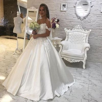 Gorgeous Ball Gown Lace White Wedding Dress | Off-the-shoulder Bridal Gown_3