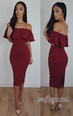 Bodycon Tea-Length Off-Shoulder Burgundy Elegant Prom Dress UK SP0383_3