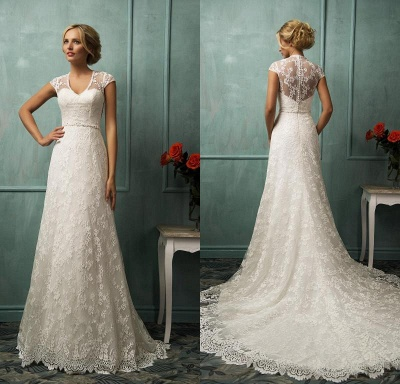 Elegant Cap Sleeve Lace Wedding Dress With Zipper Button Bridal Gowns_3