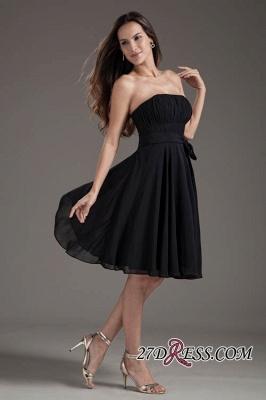 Sleeveless Black A-line Strapless Elegant Lace-up Short Bridesmaid Dress UK_3