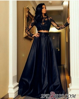 Two-Piece A-line Modern Long-Sleeve Black Lace Prom Dress UK BA7643_2