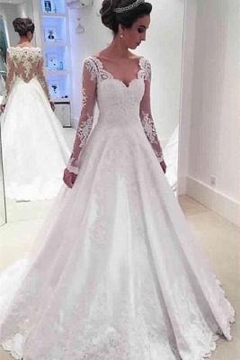 Newest A-line Long Sleeve Wedding Dress Lace Appliques_2