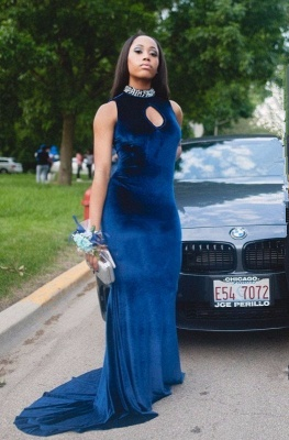 Luxury High-Neck Mermaid Prom Dress UK With Crystal_1