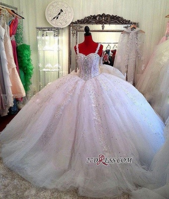 Luxurious Beads Puffy Straps New Arrival Lace Ball-Gown Ceystals Wedding Dress_1