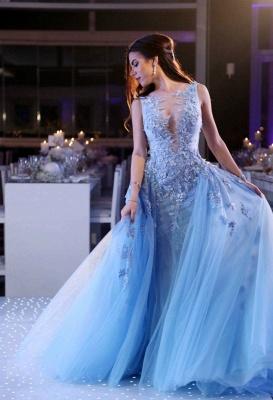 Gorgeous Sleeveless Lace Appliques Evening Dress UK Tulle Overskirt BA6876_1