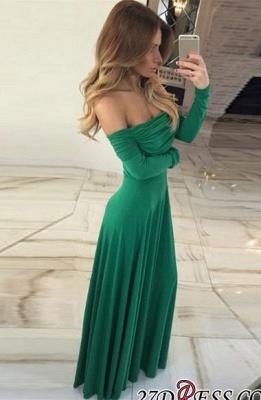 Green Off-the-shoulder Luxury Long-Sleeve Long Prom Dress UK BA7212_2