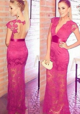 Newest Lace Appliques V-neck Cap Sleeve Prom Dress UK A-line Floor-length_1