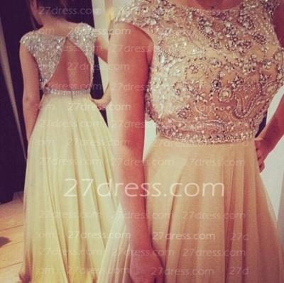 Long Gorgeous Sleeveless Prom Dress UK Chiffon Scoop Evening Gown With Beadings and Crystals_2