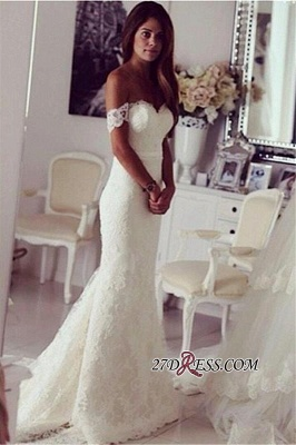 Modest Lace Sweep-Train Off-the-shoulder Sexy Mermaid Wedding Dress_2