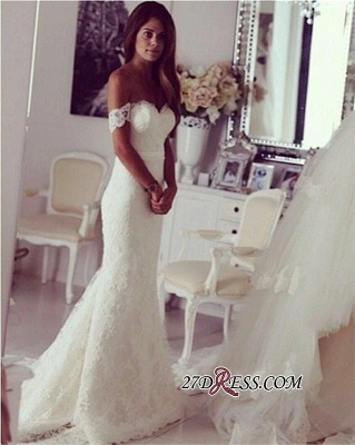 Modest Lace Sweep-Train Off-the-shoulder Sexy Mermaid Wedding Dress_1