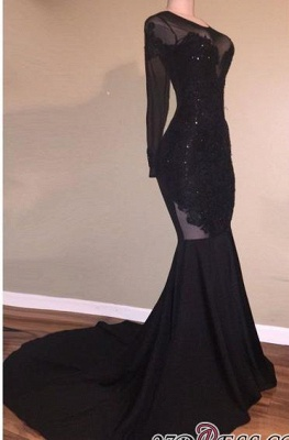 Elegant Long-Sleeves Mermaid Black Backless Appliques Prom Dress UK BA5131_2