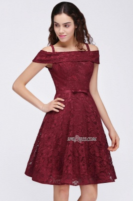 Off-the-Shoulder Lace Burgundy Simple A-Line Homecoming Dress UK_5
