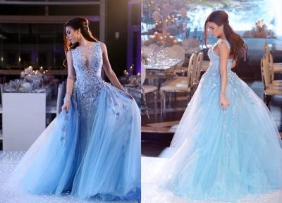 Gorgeous Sleeveless Lace Appliques Evening Dress UK Tulle Overskirt BA6876_3
